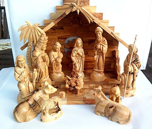 Traditional Bethlehem Olive Wood Nativity Set Large (Nativity Set Olive Wood compare prices)