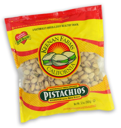Keenan Farms Pistachio with Sea Salt, In-Shell Reclosable Natural, 32-Ounce Bags (Pack of 3)