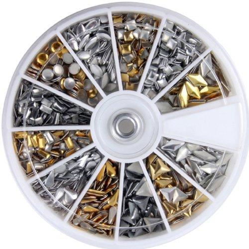 600pcs 3D Design Nail Art Different Metallic Studs Gold & Si