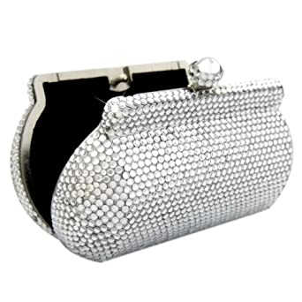 Silver Crystal SWAROVSKI Clutch Bag, Crystal Evening Purse, Bling Fashion Clutch