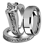 His and Hers Stainless Steel Princess Wedding Ring Set & Beveled Edge Wedding Band Women's Size 09 Men's 06mm Size 10