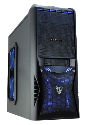CiT Vantage Midi Mesh Gaming Case with HD Audio, 4 Fans, Card Reader and No PSU – Black