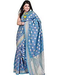 Exotic India Delphinium-Blue Banarasi Sari With Hand-woven Flowers In Gol - Blue