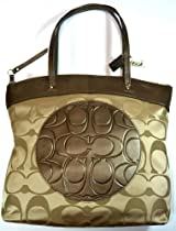 COACH Laura Signature Tote Bag F18335 (SV/Khaki/Copper 2)