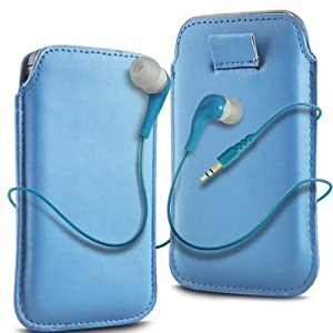 N4U Accessories Blue Leather Pull Flip Tab Case Cover Pouch & High Quality Earbud Earphones For Lg Gt540 Optimus