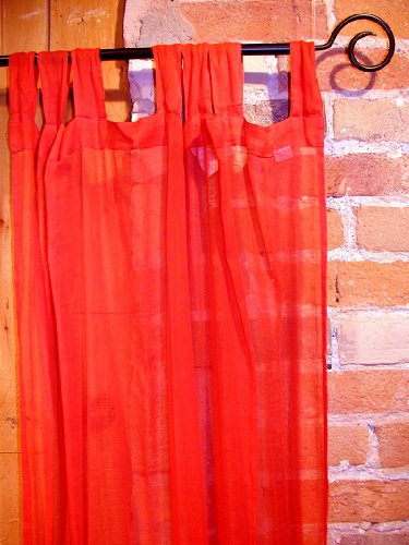 Poppy Red Sheer 100% Cotton Gauze Tab Curtain, 44 inches X 104 inches