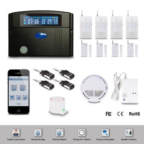 Floureon® Alarme maison sans fil écran LCD GSM Autodial hôte d'alarme + détecteur de fumée + gaz + sirène pour système de sécurité et protection contre cambriolage et incendie (contrôle par clavier, télécommande, SMS)