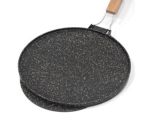 Poêle double fonction plaque/grille en pierre de lave, recouverte de céramique pour grillades ou crêpes, fabriquée en Italie (36 cm)