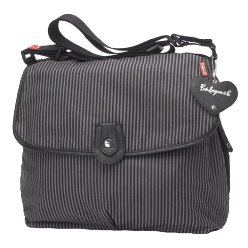 Babymel Satchel Diaper Bag, Grey Stripe (Discontinued by Manufacturer)