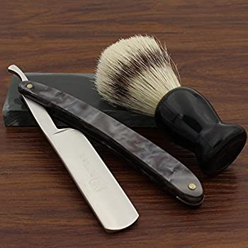 Vintage Design Barber Cut Throat Black Gray Acrylic Handle Straight Razor Widen Stainless Steel Blade Bristle Brush Natural Water Hone Sharpen Stone Sharpener Gift Set Manual Wet Shaving Kit
