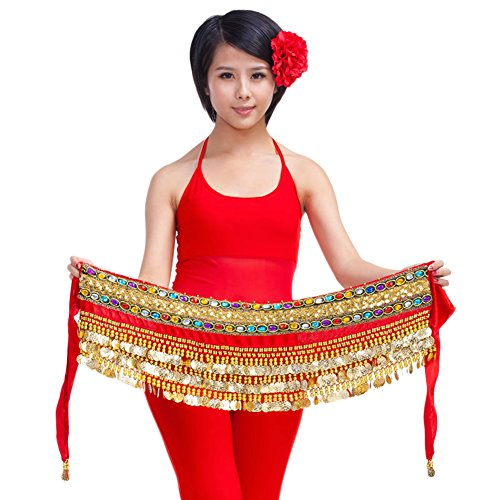 AveryDance Women's Gorgeous Gold Coin Hip Scarf Belly Dancing Skirt