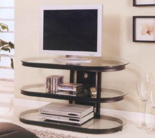 Cheap Black Oval TV Stand With Glass Shelves (B0017DS9MA)