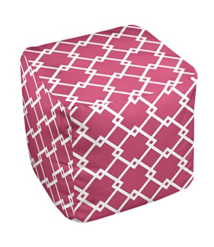 E by design FG-N10-Lipstick_White-13 Geometric Pouf