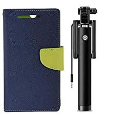 Novo Style Wallet Case Cover For Moto G Plus 4th Gen Blue + Wired Selfie Stick No Battery Charging Premium Sturdy Design Best Pocket Sized Selfie Stick