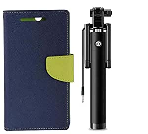 Novo Style Book Style Folio Wallet Case Xiaomi MI4I Blue + Wired Selfie Stick No Battery Charging Premium Sturdy Design Best Pocket SizedSelfie Stick