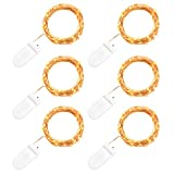 String Lights, Oak Leaf 6 Set of Micro 30 LEDs Super Bright Warm White Led Rope Lights Battery Operated on 9.8 Ft Long Ultra Thin String Copper Wire For Christmas Home Bedroom Party Decoration