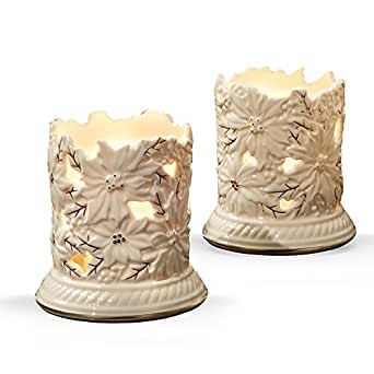 Lenox Poinsettia Tea Light Votive Holder, Set of 2