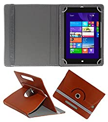 ACM ROTATING 360° LEATHER FLIP CASE FOR NOTION INK CAIN 10 TABLET STAND COVER HOLDER BROWN