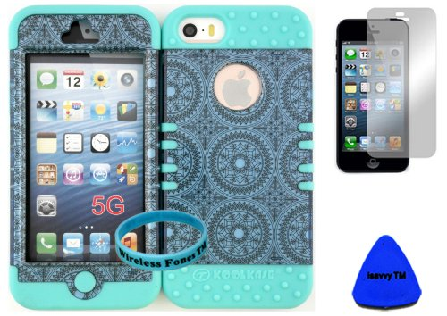 Wireless Fones Tm Bumper Case For Iphone 5 Blue Circular Pattern Snap On + Baby Teal Silicone Gel (Included: Wristband, Pry Tool And Screen Protector Exclusively By Wirelessfones Tm)
