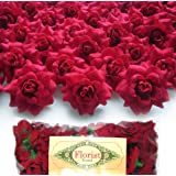 "(100) Silk Red Roses Flower Head - 1.75"" - Artificial Flowers Heads Fabric Floral Supplies Wholesale Lot for Wedding Flowers Accessories Make Bridal Hair Clips Headbands Dress"