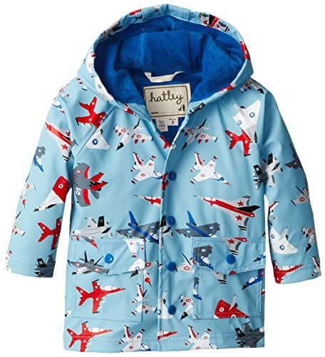 Hatley Little Boys' Little Boys' Raincoat Fighter Jets, Blue, 4 front-898048