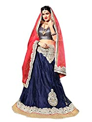 Silvermoon women's Net Embroidered heavy lehenga choli-sm_NMNZA330_Nevy blue and pink_free size