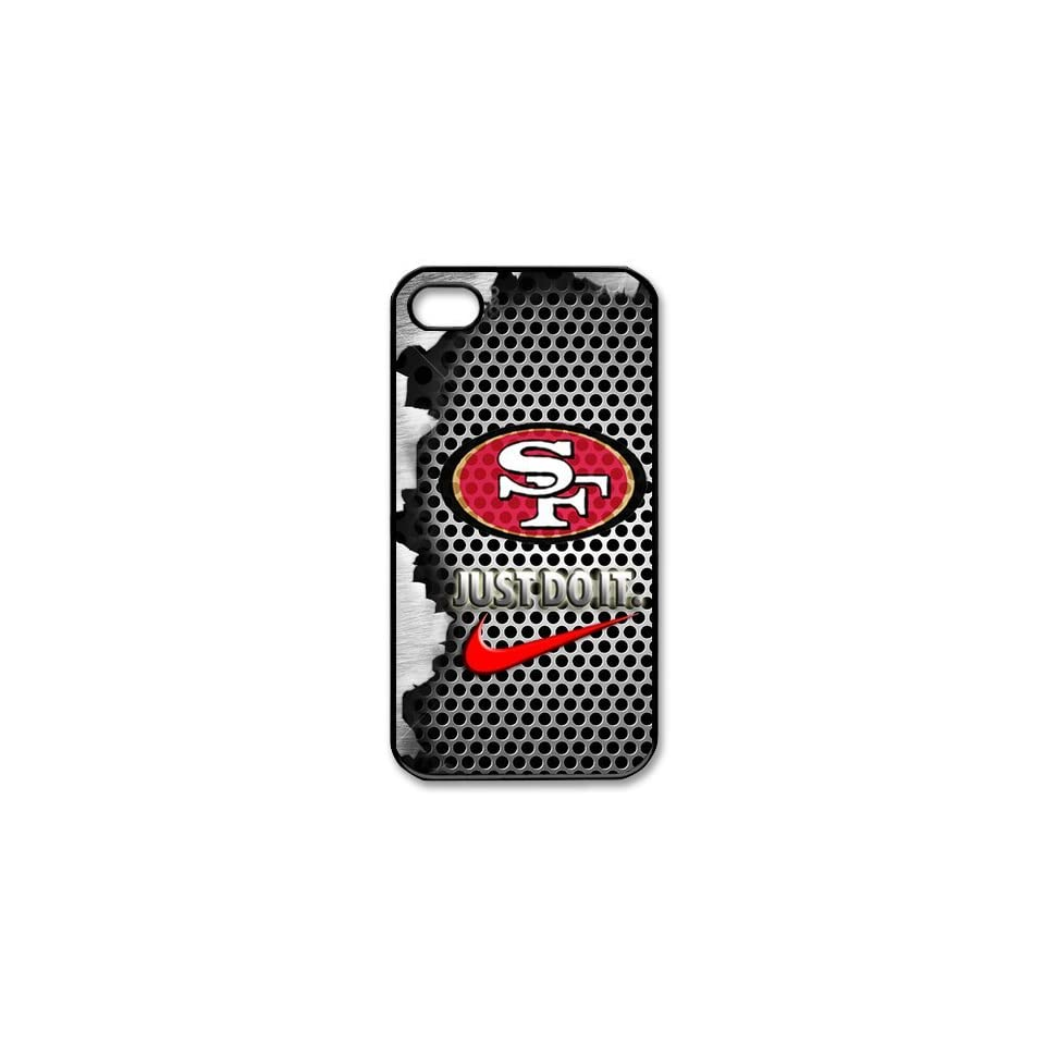 NFL San Francisco 49ers Logo Iphone 4/4S Case Nike Logo Case Cover black&white Cell Phones & Accessories