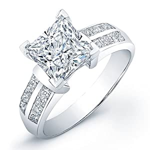 certified 1.30 ct princess cut diamond wedding engagement anniversary bridal ring set band