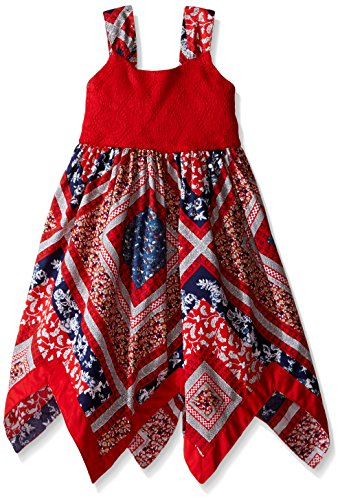 Blueberi Boulevard Little Girls Americana Hanky Hem Sundress, Red, 5