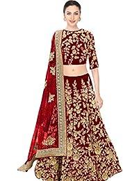 Designer Bollywood Style Red Velvet Embroidery Work Semi-Stitched Bridal Lahenga Choli