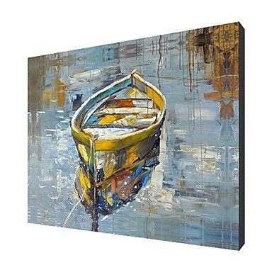 Sanbay Art Hand Painted Oil Paintings A Boat in the Lake on Canvas Hot Sale Wood Framed Inside 1-pieces Set Artwork for Living Room and Home Wall Decoration