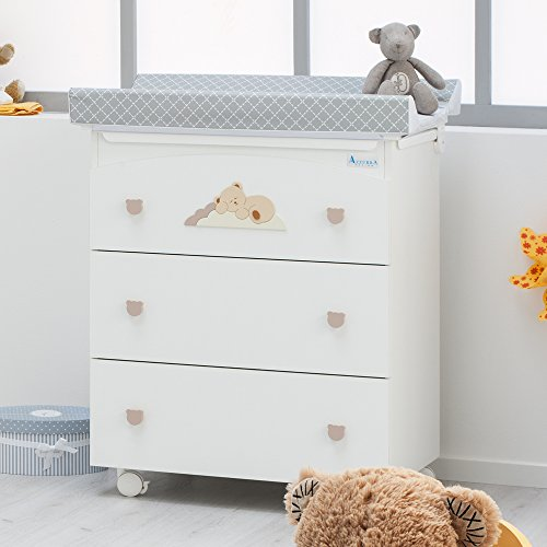 hochwertige baby wickelkommode nannamia azzurra design wickeltisch mit badewanne und. Black Bedroom Furniture Sets. Home Design Ideas
