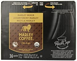 Marley Coffee, Marley Mixer Single Serve RealCup Organic Variety Pack for Keurig K-Cup Brewers, 36 Count by Mother Parkers Tea & Coffee Inc.(Single Serve Code [Foods]