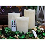 Flameless Candles, Drip Pillar Wax Candles with Remote, 4-inch, 5-inch and 6-inch Candles Set of 3 (IVORY) ~ ORANGE TREE TRADE
