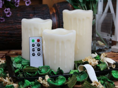 Flameless Candles, Drip Pillar Wax Candles With Remote, 4-Inch, 5-Inch And 6-Inch Candles Set Of 3 (Ivory)