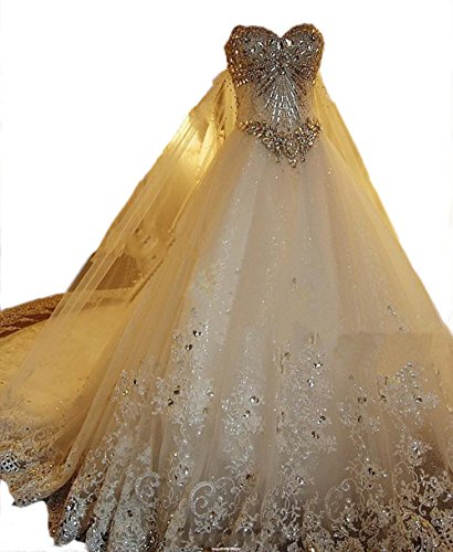 Sweetgirl Beads Wedding Dress Long Train Lace Custom Real Pictue L022 (18W)