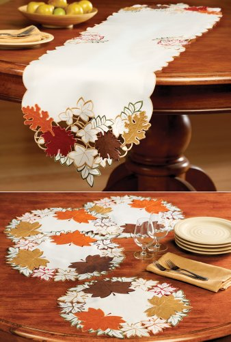 Maple leaf embroidered fall table linens runner machine