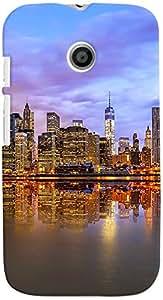 PRINTVISA Travel City Case Cover for Motorola Moto E (Multicolour)