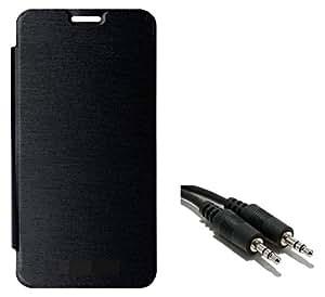 Ceres Flip Cover Case for Yu Yureka Plus with Aux Cable (Black)