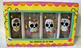 Day of the Dead Glass Tall Shooters Shot Glasses Set of 4