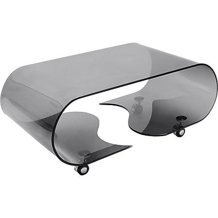 Couchtisch schwarzes Glas formgebogen mit Rollenmax. Belastbarkeit 25kg Rollen