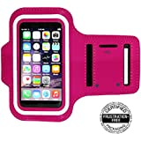 Best Running Armband for iPhone5 , 5S , 5c , 4 / 4S , 3GS , and iPod 5 Touch (Hot Pink)