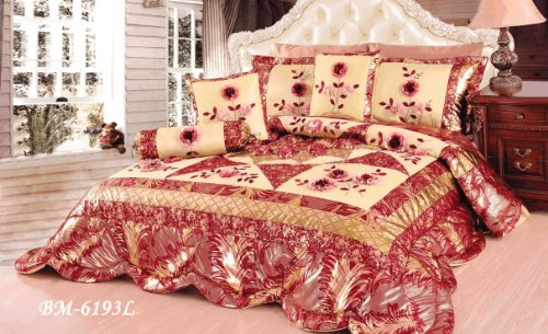 Tache 4 Piece Red Spring Blooms Patchwork Comforter Quilt Set, Twin Size front-604473