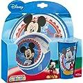 3tlg. Breakfast set Mickey Mouse, Disney, blue