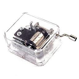Helen Zora 18 note Acrylic Clear Hand Cranked Gurdy Musical Mechanism Music Box Kids Gift (La Vie En Rose)