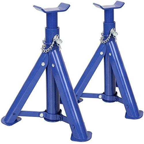 Timbertech-Unterstellbock-Abstellbock-Wagenheber-Lastheber-Arbeitsbock-aus-Stahl-mit-2-t-Tragekapazitt-im-2er-Set-in-Rot-oder-Blau