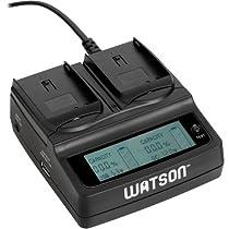Watson Duo LCD Charger with 2 EN-EL15 Battery Plates - For Nikon EN-EL15 Type Battery