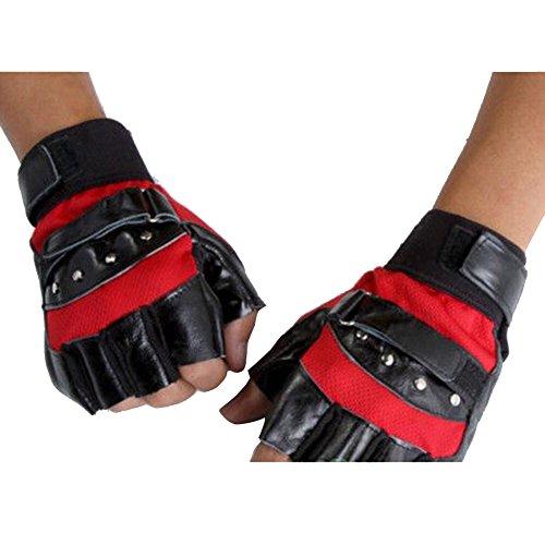 Hot Men's Soft Sheep Leather Motorcycle Biker Fingerless Gloves