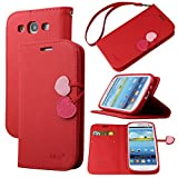 Case for Galaxy S3, By Ailun,Wallet Case,PU Leather Case,Cut,Credit Card Holder,Flip Cover Skin,(Red)