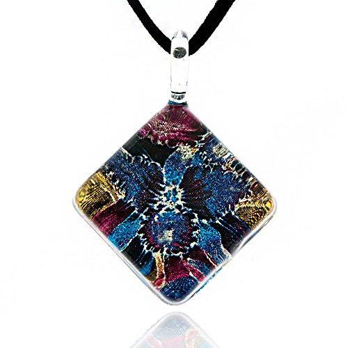 Hand Blown Venetian Murano Glass Blue Orchid Flower Square Pendant Necklace, 17-19 inches (Italian Blown Glass Necklace compare prices)